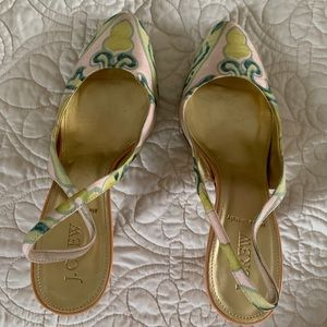 J Crew Raw Silk Patterned Sling Backs